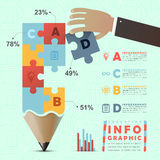 Education infographic with colorful puzzle pencil Royalty Free Stock Images