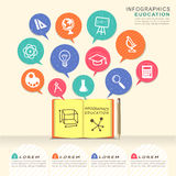 Education infographic design elements with book and speech bubbl Stock Photos