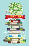 Education infographic design elements with tree and books Stock Photo