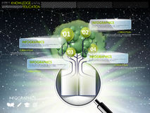 Education infographic design elements with tree and magnifying g Stock Image