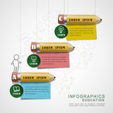 Education infographic design with pencils and note papers Stock Photography