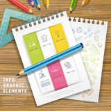 Education infographic design with pencils and notebooks Stock Image
