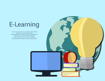 Education infographic. Flat vector illustration for e-learning a Royalty Free Stock Images