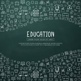 Education infographic with hand drawn doodle school icons. For website banner, printing design, presentation. Vector illustration royalty free illustration