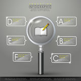 Education infographic with magnifying glass element Royalty Free Stock Images