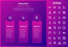 Education infographic template, elements and icons. Education options infographic template, elements and icons. Infograph includes line icon set with education Stock Photo