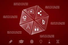 Education infographic template. Infographic template with glass pieces, sciences and education icons stock illustration