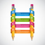 Education Infographics design template. Pencil wrapped ribbon. Stock Image