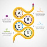 Education infographics template with curved pencil. Design element. Royalty Free Stock Photo