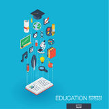 Education integrated 3d web icons. Growth and progress concept Royalty Free Stock Photo