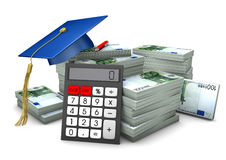 Education Investment. Graduation cap with hundred euro notes and calculator Royalty Free Stock Photography