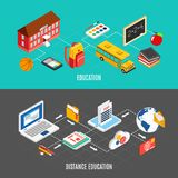 Education Isometric Banners Royalty Free Stock Photos