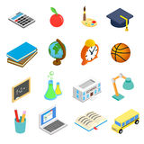 Education isometric 3d icons set. On white background Royalty Free Stock Image