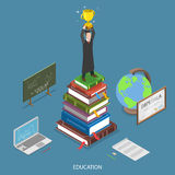 Education isometric flat vector concept. Royalty Free Stock Image