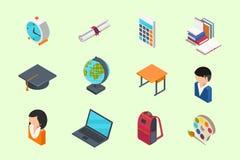 Education isometric icons Royalty Free Stock Photo