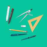 Education items, school study tools icons set, objects isolated. Education items, school study icons set, objects isolated, pen, pencils, eraser, triangle rulers Stock Photos