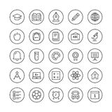 Education items thin line icons. Education and learning flat thin line icons set, modern vector collection of high school objects and college items, teaching Stock Photos