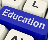 Education Key Means Schooling Or Training. Education Key On Keyboard Meaning Teaching Schooling Or Training Royalty Free Stock Photo