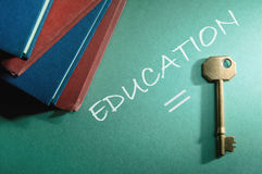 Education is the key. Stack of books with education is the key concept Royalty Free Stock Photos