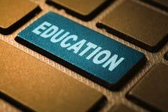 Education keyword on keyboard. Education keyword concept on computer keyboard technology background macro shot stock image