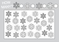 Education for kids. Count how many snowflake and coloring page. Vector illustration vector illustration