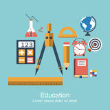 Education and knowledg. E. set of icons flat, modern design, concept for web and apps. symbol and object  for schools, higher education, training, e-learning Stock Images