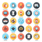 Education and Knowledge. Abstract vector set of colorful flat education and knowledge icons with long shadow. Creative concepts and design elements for mobile Royalty Free Stock Image