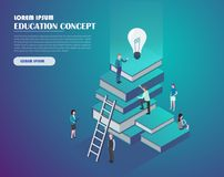 Education and knowledge concept. Book library with people. Education and knowledge concept infographics. Flat isometric vector illustration. Landing page vector illustration