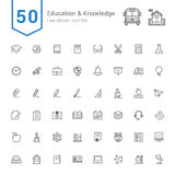 Education and Knowledge Icon Set. 50 Line Vector Icons. Stock Image