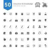 Education and Knowledge Icon Set. 50 Solid Vector Icons. Royalty Free Stock Photography