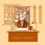 Education and knowledge professor librarian in the library books Royalty Free Stock Images