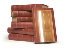 Education, knowledge and reading concept. Pile of old red books. And door with light isolated on white. 3d illustration Royalty Free Stock Image