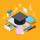 Education knowledge tuition fee credit loan flat 3d isometric Stock Image