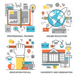 Education and Knowledge. Vector set of conceptual flat line illustrations on following themes - professional training, online education, education for all Royalty Free Stock Image