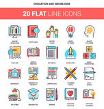 Education and Knowledge. Vector set of education and knowledge flat line web icons. Each icon with adjustable strokes neatly designed on pixel perfect 64X64 size Royalty Free Stock Photos
