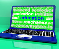 Education Laptop Means Learning Or Training Online Royalty Free Stock Photos