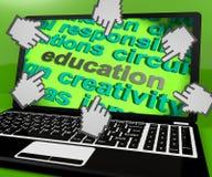 Education Laptop Screen Shows Teaching Learning And Training. Education Laptop Screen Showing Teaching Learning And Training Stock Photo