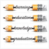 Education And Learning With Carve Lead Pencil Step Infographic D Royalty Free Stock Photography