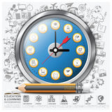 Education And Learning Clock Step Infographic Diagram. Vector Design Template Stock Images
