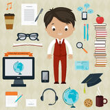 Education and learning concept. Boy with icons for education, online education, online learning Royalty Free Stock Image