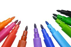 Education Learning Concept : Colorful of marker pens set on white background Stock Photo