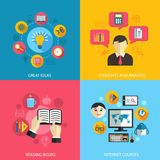 Education learning concept. Flat icons set of great ideas books reading e-learning internet courses and research for infographics design web elements vector Stock Images
