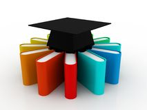 Education concept, Graduation Cap and Stack of Colorful Books on digital background. 3d render. Education and Learning Concept. Graduation Cap and Stack of Stock Photography