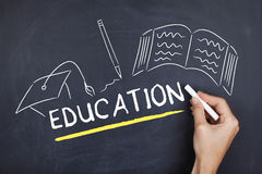 Education learning concept. Education learning studying university concept on blackboard stock photo