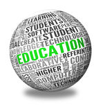 Education and learning concept words in tag cloud. On 3d sphere Stock Photography