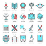 Education and Learning Flat Line Icon Set. Abstract vector set of line color icons for wisdom and knowledge. Modern style illustrations and design elements for Stock Image