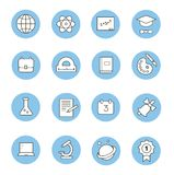 Education and learning flat thin line  icons set,. Education and learning flat thin line icons set, modern vector collection of high school objects and college Stock Photography
