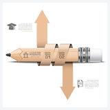 Education And Learning Infographic With Spiral Arrow Tag Pencil Royalty Free Stock Images