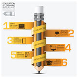 Education And Learning Infographic With Spiral Tag Pencil Step D. Iagram Vector Design Template stock illustration