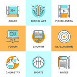 Education and learning line icons set Stock Photography